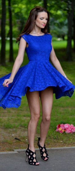 fit and flare royal blue mini cocktail dress with open toe straps