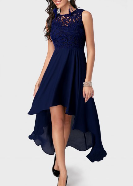 dark blue high low midi flare cocktail dress