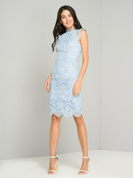 Super light blue sleeveless midi cocktail dress with scalloped hem