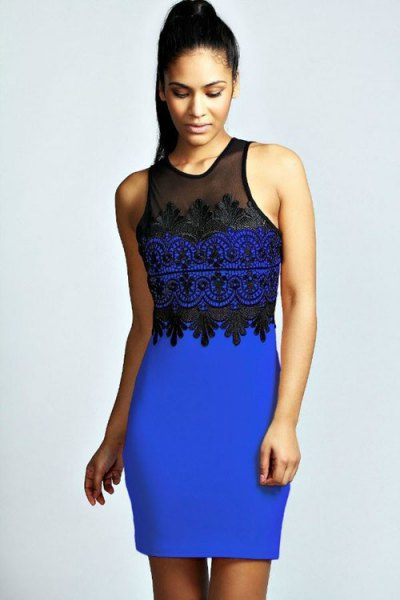 Royal blue and black sleeveless dress with black heels