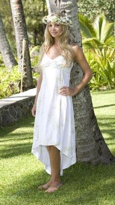 white high low sleeveless babydoll Hawaiian wedding dress