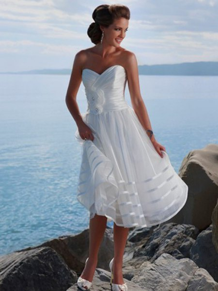 strapless midi wedding dress with white fit and flap