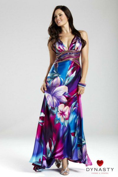 blue and white floral printed Hawaiian wedding dress with deep v-neck