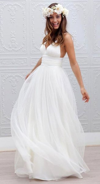 white chiffon floor-length flowing wedding dress