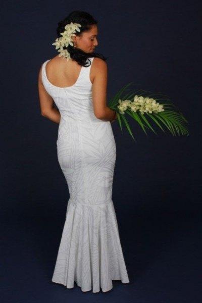 white mermaid scoop wedding dress