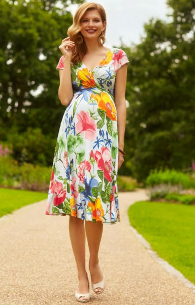 Floral fit and flare midi wedding dress from Hawaii
