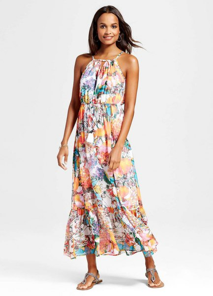 Flower printed halter maxi chiffon hawaiian dress