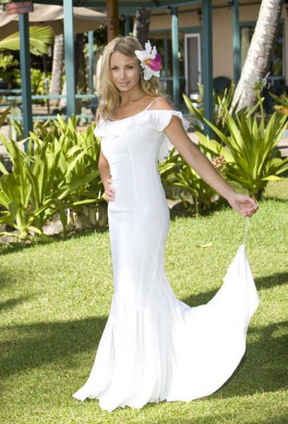 white cold shoulder mermaid wedding dress