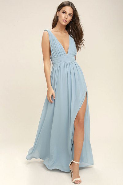 gathered waist light teal blue high split chiffon dress with white open toe heels