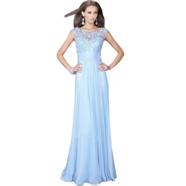 floor-length chiffon dress with lace fit and flap
