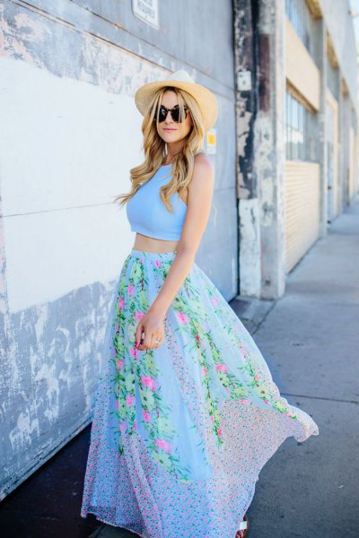 Sky blue two-piece maxi dress with floral print and straw hat