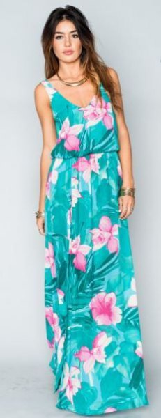 blue-green sleeveless dress with maxi Hawaii print and blue and white scoop neck