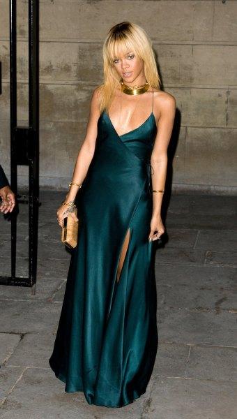dark green, high slit silk dress with high slit and gold collar
