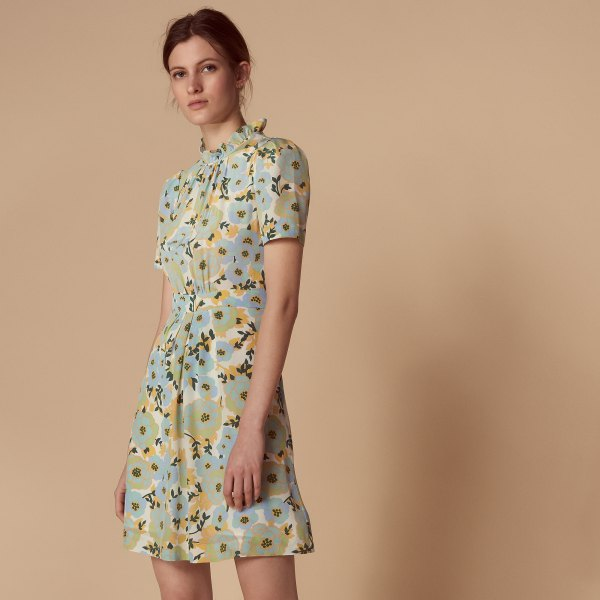 light green and light blue dress with floral pattern and false neckline