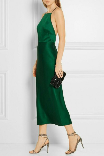 Fit and flare halter green silk dress with clutch wallet