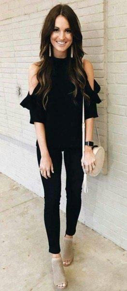 cold black shoulder blouse with narrow pants and gray short boots with open toe