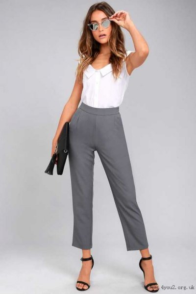 white sleeveless shirt with gray, cropped dress pants
