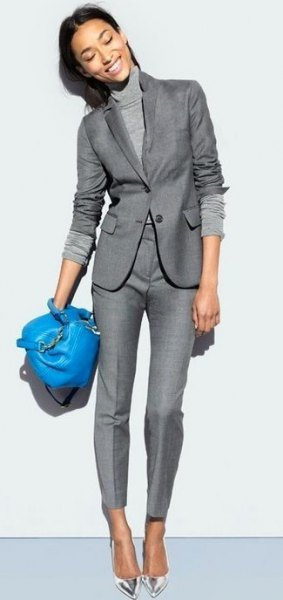 Mock neck knit sweater with gray blazer and matching pants