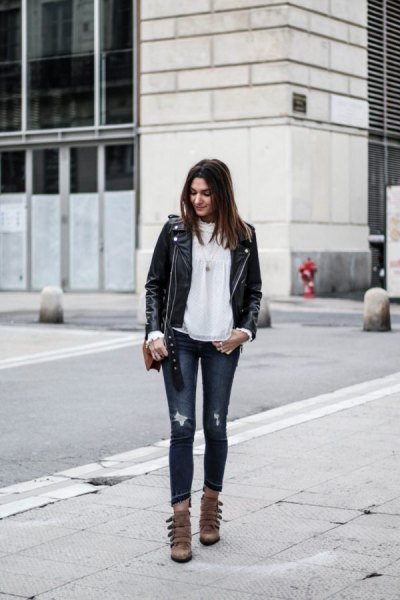 black leather jacket with white chiffon blouse and gray skinny jeans