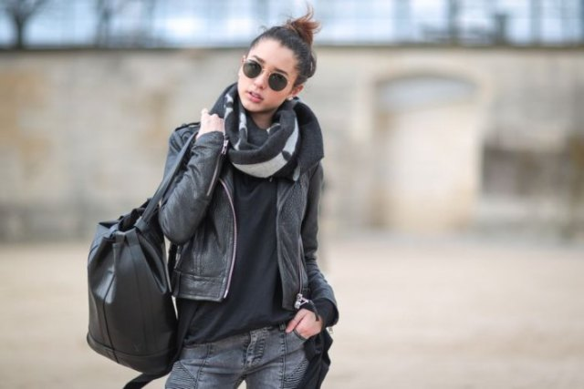 Leather jacket with black t-shirt and gray 3D jeans
