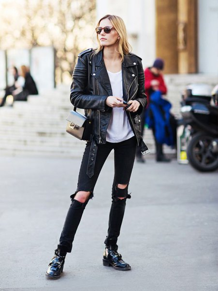 black leather jacket with white scoop neck t-shirt