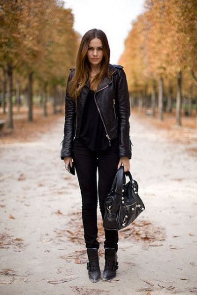 black leather jacket with matching skinny jeans and leather ankle boots