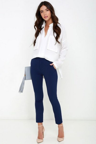 white oversized chiffon shirt with dark blue slim fit pants