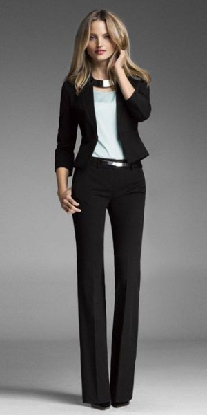 Slim fit blazer with dress pants and silver metallic collar