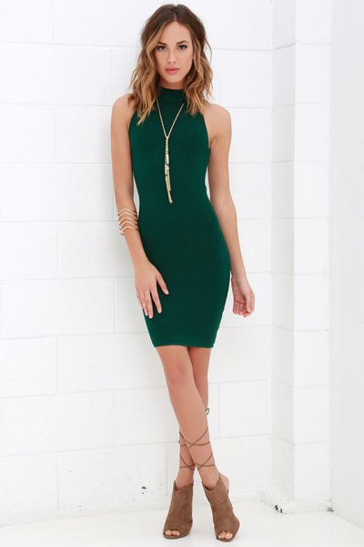 Mock neck mini bodycon dress with gray open toe suede boots