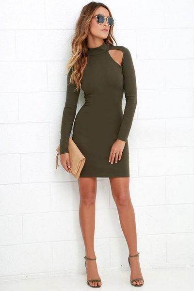 Long sleeve dark green cut out shoulder mini bodycon dress