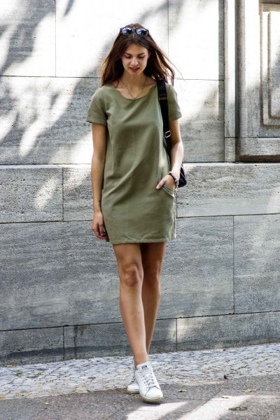 green short-sleeved khaki t-shirt dress with white sneakers