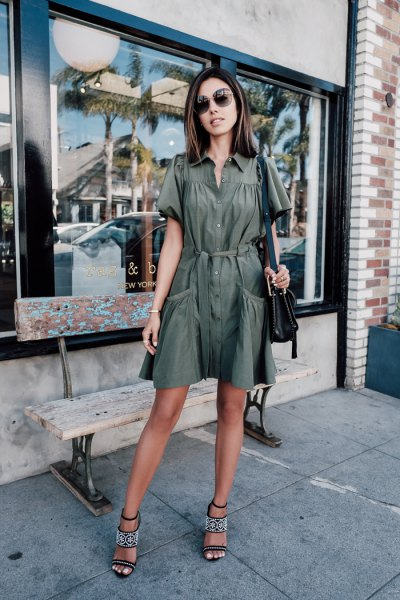Flared mini khaki dress with button closure and open toe heels
