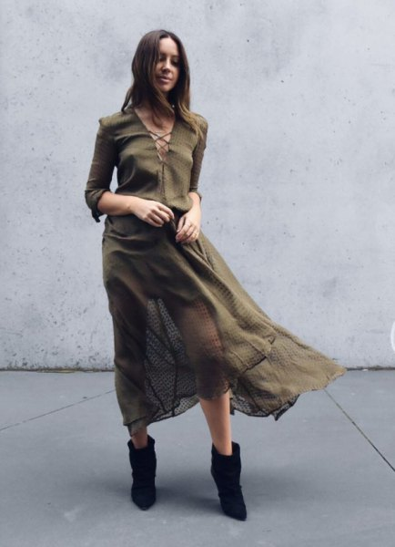 long-sleeved chiffon khaki dress with cross-neckline