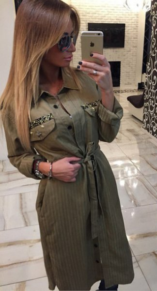 green waist button khaki dress