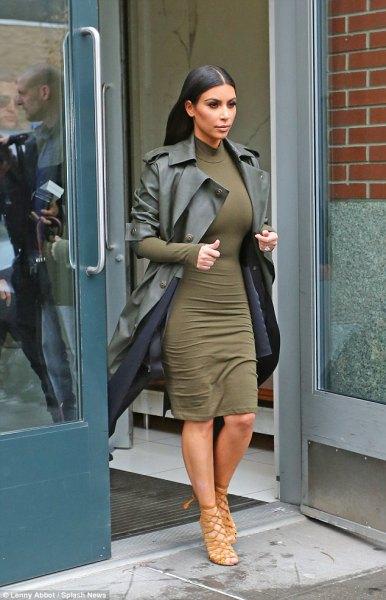 figure-hugging knee-length dress with long leather blazer