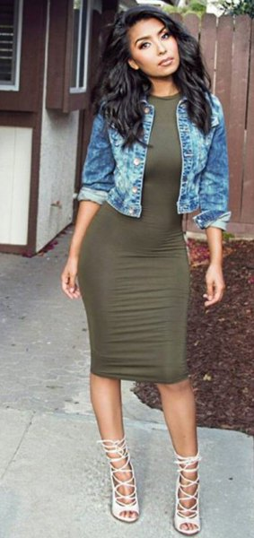 blue denim jacket with green dress and white strappy heels