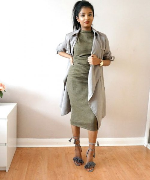 gray longline blazer with green ribbed khaki dress