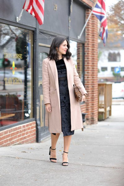 gray longline blazer with black velvet midi dress