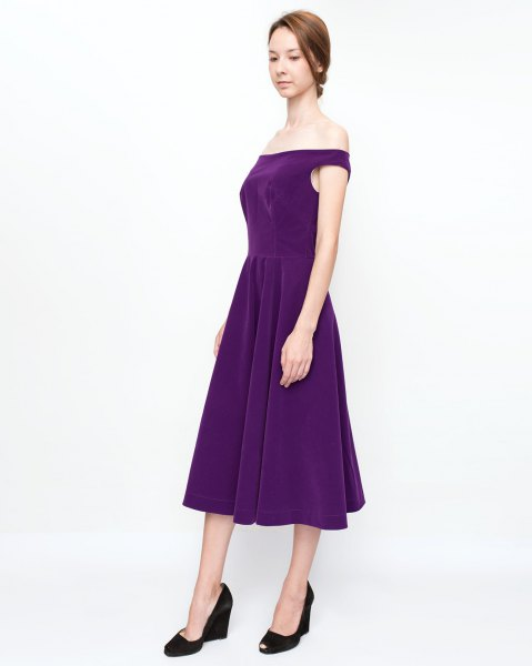 Dark blue, strapless fit and flare midi dress