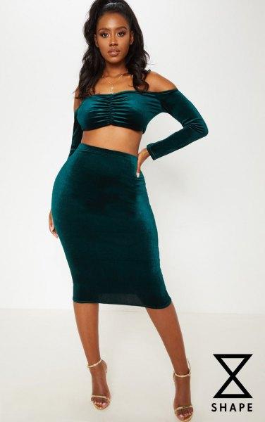 dark blue, shoulder-free, two-piece midi dress