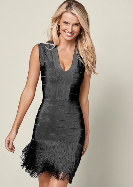 gray velvet midi fringe dress with deep V-neck