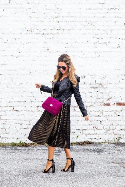 black leather jacket with velvety pleated dress