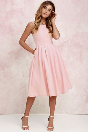 Light pink fit and flared midi pleated dress with open toe heels