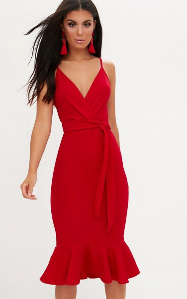 red tie waist midi mermaid slip dress with matching heels