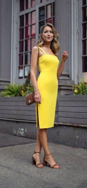 yellow square neckline spaghetti strap midi side slit dress