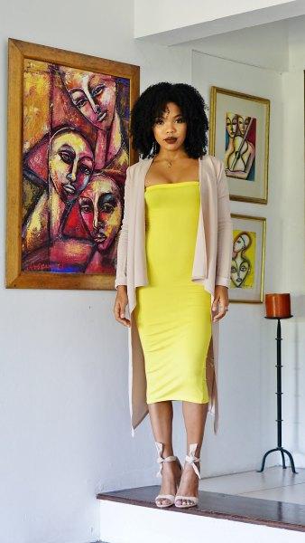 yellow midi tube dress with gray longline blazer