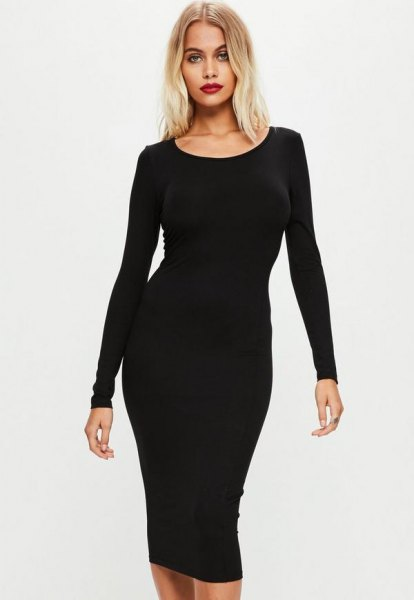 Black long-sleeved midi dress with a boat neckline and open toe heels