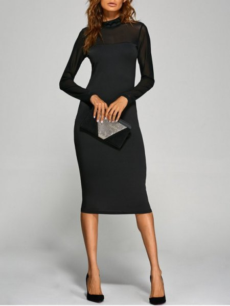 Mock Neck Bodycon black dress with silver clutch