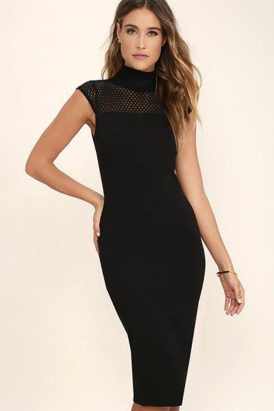 Mock Neck Semi Sheer Sleeveless Midi Bodycon Dress