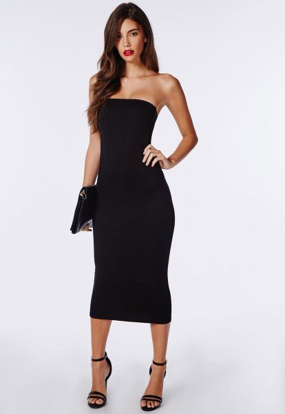 black tube midi dress with leather clutch